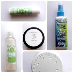 Bálsamo labial / Desodorante / Tónico de Benjuí / Crema de manos / Talco (envase reciclado)